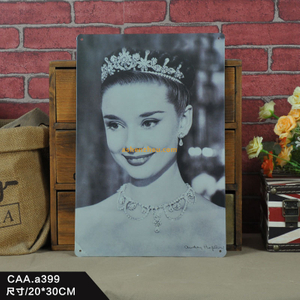 Wholesale custom make advertising banner metal wall advertising sign plaque about Audrey Hepburn