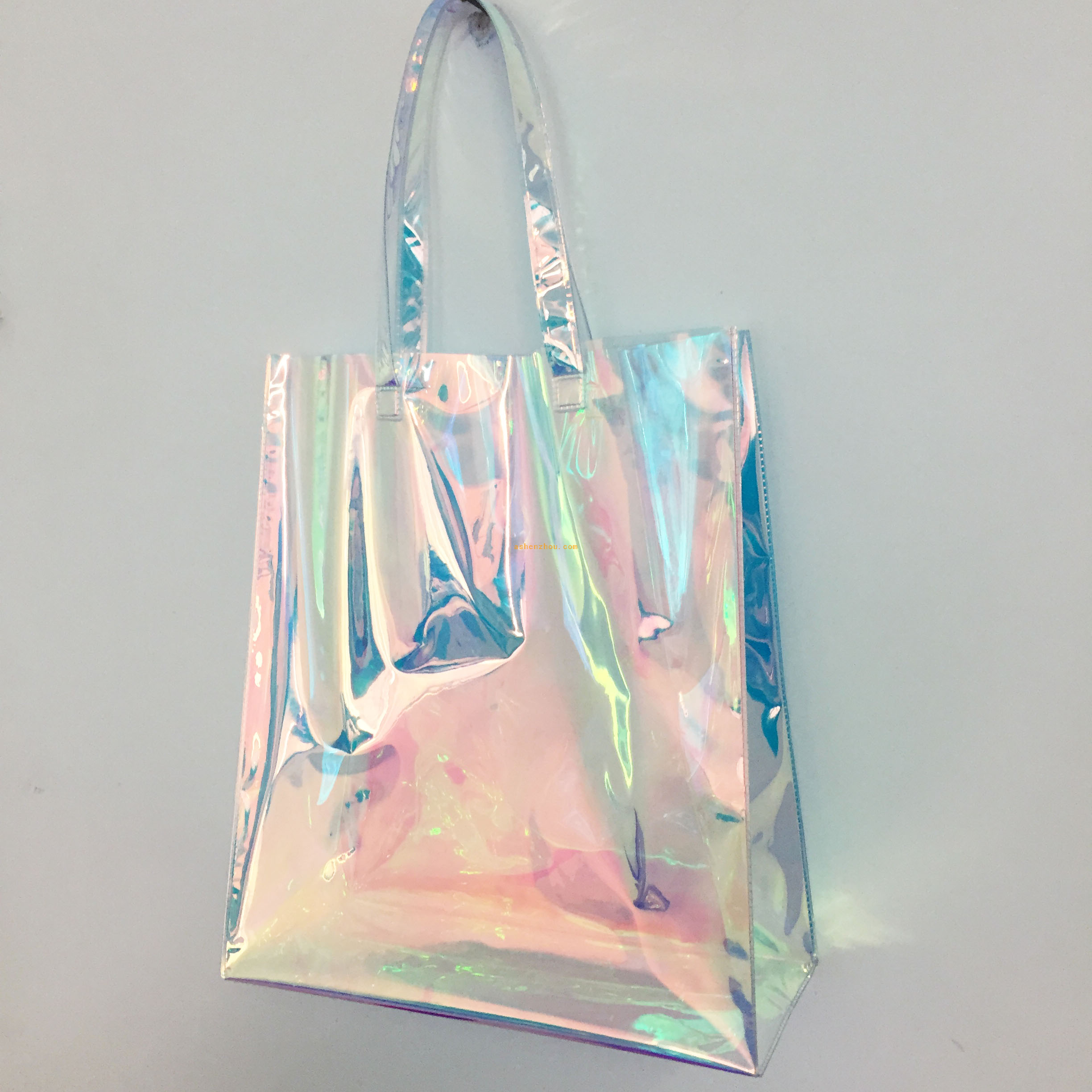 Top sale cheap custom women travel pvc holographic bag wholesale clear transparent zippered print cosmetic pouch