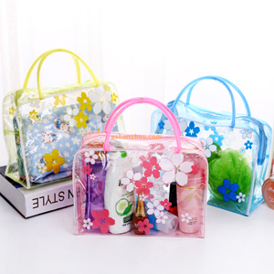 Hot sale promotional custom various beautiful pattern printed PVC Travel Container Kit bags with handle
