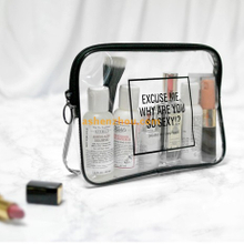 Most popular custom logo printed transparent PVC fabric cosmetics pouches for sale