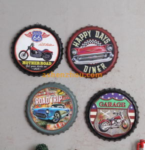 Custom printed decorative vintage metal embossed outdoor tin signs with round shape for business