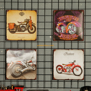 Custom souvenir vintage automotive embossed metal tin art posters wall retro signs for bar wholesale