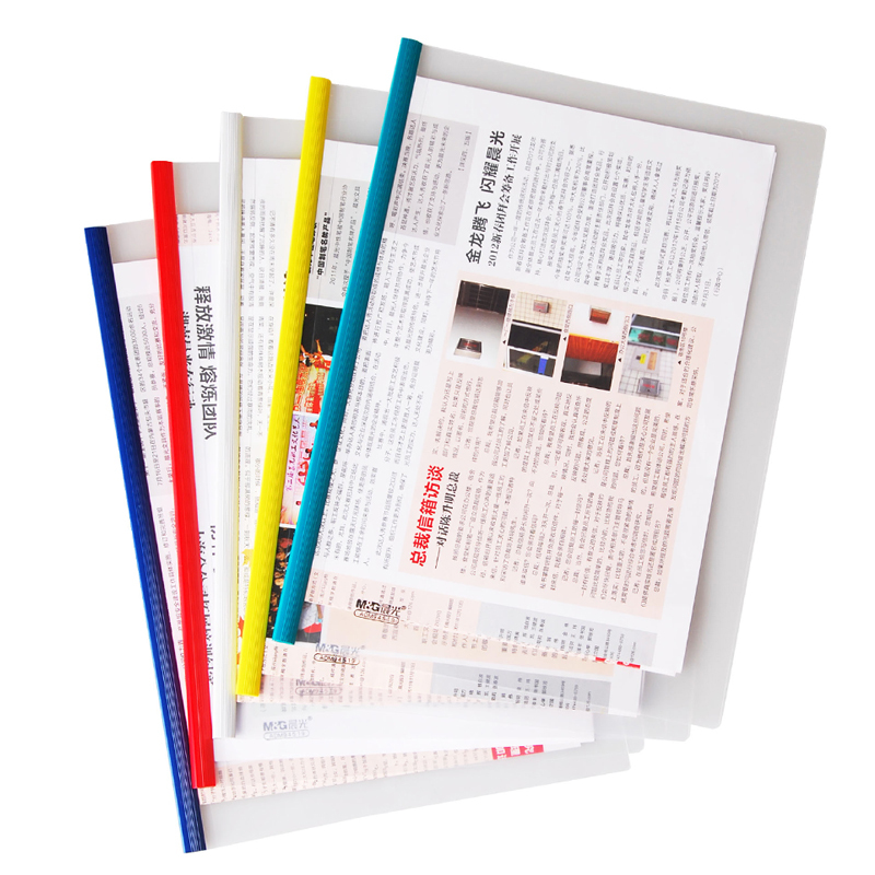 High quality custom file folder A4 L shaped pp plastic pvc clear transparent slide bar report cover ,folder binder